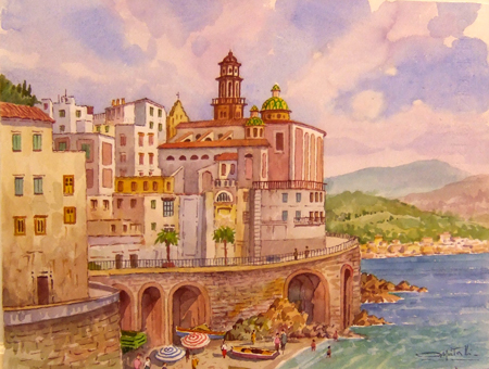 Art work by Giovanni Ospitali Trani Panorama - watercolor paper