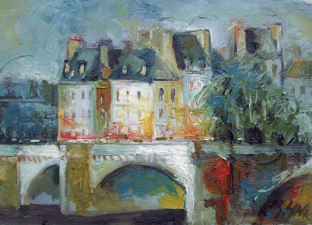 Art work by Emanuele Cappello Case dietro al ponte (Parigi) - oil canvas