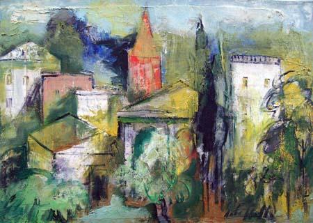 Quadro di Emanuele Cappello Paesaggio storico - olio tela