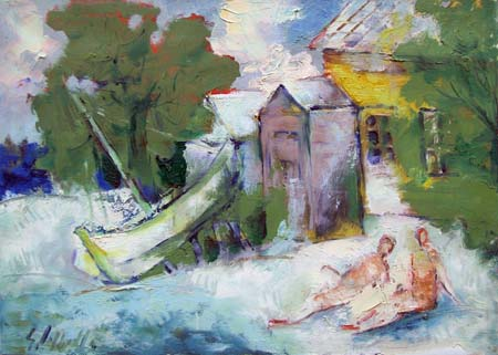 Art work by Emanuele Cappello Sulla riva del mare - oil canvas