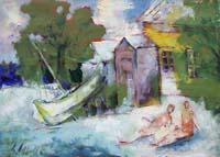 Quadro di Emanuele Cappello  Sulla riva del mare