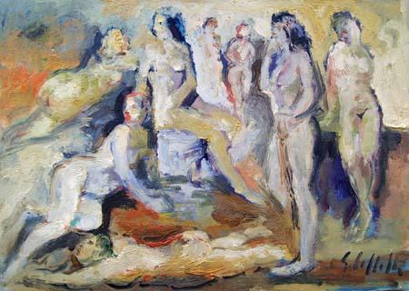 Quadro di Emanuele Cappello Donne - olio tela