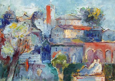 Quadro di Emanuele Cappello Paesaggio medievale - olio tela