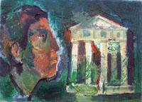 Quadro di Emanuele Cappello  Tempio con figura