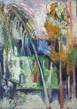 Quadro di Emanuele Cappello Casa tra gli alberi - olio tela