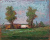 Quadro di Osman Lorenzo De Scolari - Paesaggio olio tavola