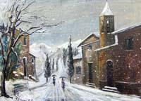 Quadro di Bruno Seroni - Nevicata olio tela