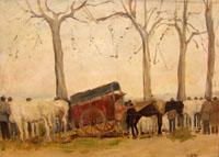 Quadro di  Certini - Mercato del bestiame olio tavola