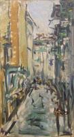 Quadro di Enzo Pregno - Via Toscanella (Firenze) olio tela