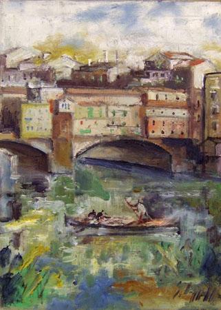 Quadro di Emanuele Cappello Barca al Ponte Vecchio - olio tela