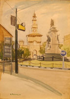 Work of Rodolfo Marma - Castello sforzesco (Milano) watercolor cardboard
