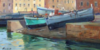 Quadro di Piero Marchi - Barche olio tavola