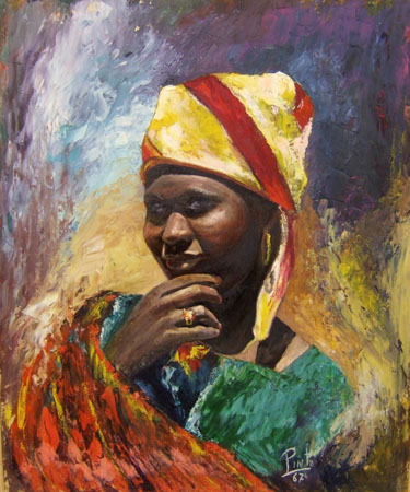 Quadro di  Pinto Africana - olio tavola