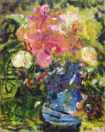 Art work by Roberto Panichi Vaso con fiori - oil canvas