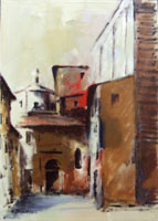 Quadro di Umberto Bianchini - Piazza del Carmine olio tela