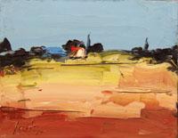 Quadro di Sergio Scatizzi - Paesaggio con casa olio tavola