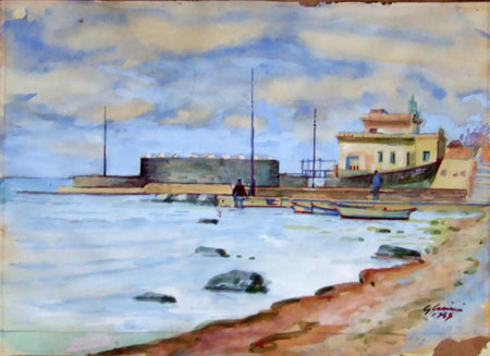 Art work by Giorgio Casini I bagni di Antignano - watercolor paper