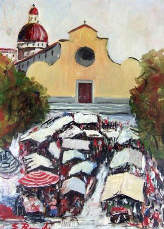 Art work by firma Illeggibile Mercato di S.Spirito - oil table