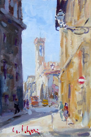 Quadro di Gino Paolo Gori Piazza San Firenze - olio cartone telato