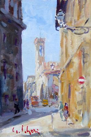 Art work by Gino Paolo Gori Piazza San Firenze - oil canvas cardboard