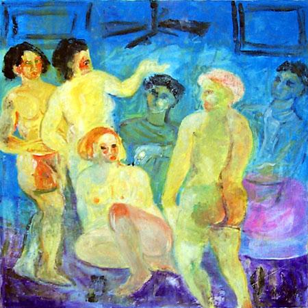 Quadro di Nadia Monti Il bordello - olio tela
