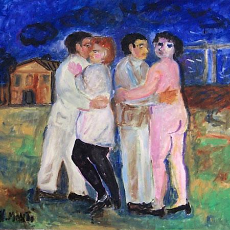 Quadro di Nadia Monti Il ballo - olio tela
