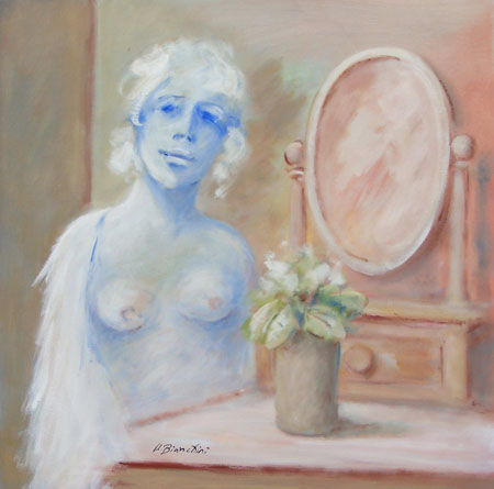 Art work by Umberto Bianchini Ragazza con specchio - mixed canvas