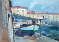 Quadro di Piero Marchi  Barche a Livorno