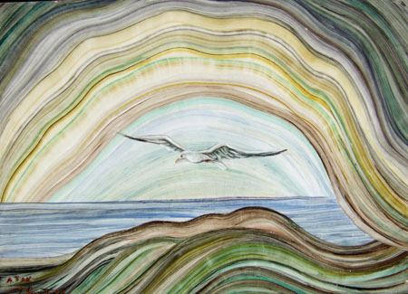 Art work by firma Illeggibile Paesaggio - oil cardboard
