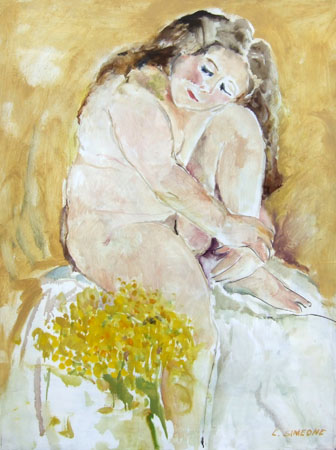 Art work by Lucia Simeone Nudo con mimose - oil canvas