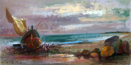 Art work by Osman Lorenzo De Scolari Tramonto - oil table