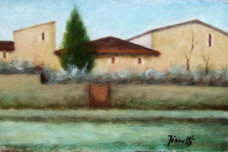 Art work by Giancarlo Fioretti Paesaggio - oil cardboard