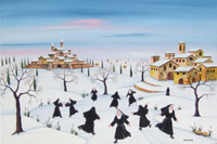 Work of  Zenone (Emilio Giunchi) - Nevicata in Casentino oil table