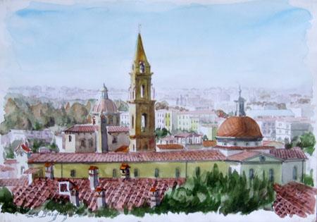 Quadro di Elio Bargagni Santo Spirito a Firenze - acquerello carta