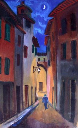 Quadro di Luigi Pignataro Vicolo notturno fiorentino - tempera tavola