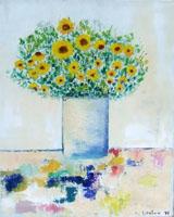 Quadro di Liù Venturi - Vaso con fiori olio tela