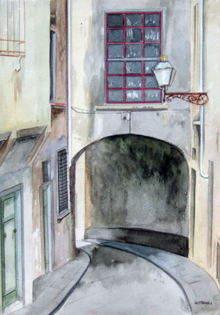 Art work by Franco Lastraioli Via Fiorentina - watercolor paper