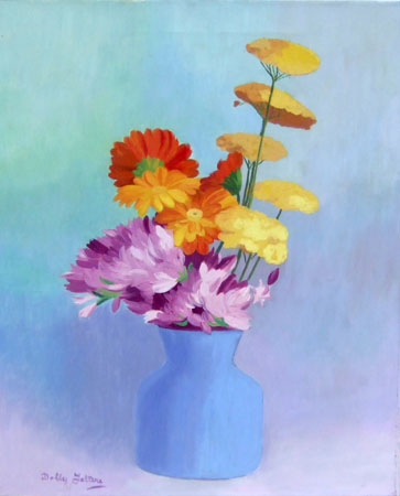 Art work by Dolly Falteri Vaso con fiori - oil canvas