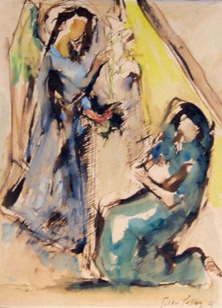 Quadro di Silvio Polloni Annunciazione - acquerello cartone