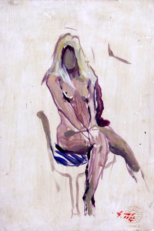 Art work by Gino Tili Nudo seduto - oil cardboard