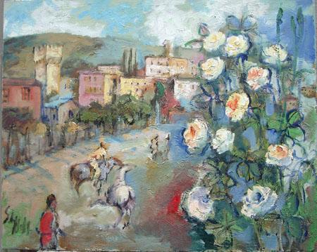 Quadro di Emanuele Cappello Primavera in paese - Pittori contemporanei galleria Firenze Art