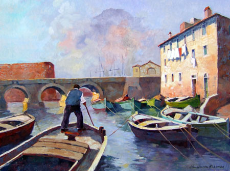 Art work by Claudio da Firenze Vecchia Livorno - oil canvas