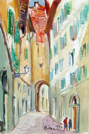 Quadro di Rodolfo Marma Vicolo del gomitolo d'oro - olio cartone telato