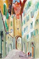 Quadro di Rodolfo Marma - Vicolo del gomitolo d'oro olio cartone telato