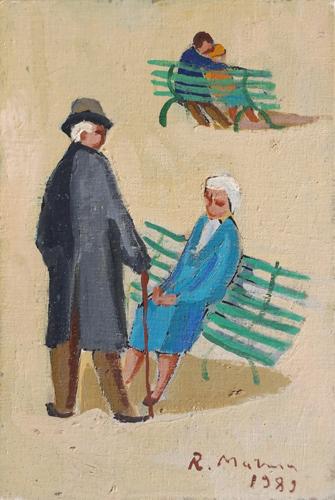 Quadro di Rodolfo Marma Primo e ultimo colloquio - olio cartone telato