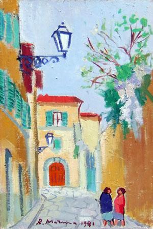 Quadro di Rodolfo Marma Via d'Ardiglione - olio cartone telato