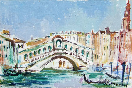 Art work by Rodolfo Marma Ponte di Rialto - Venezia - oil canvas cardboard
