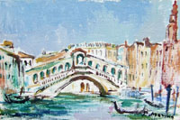 Quadro di Rodolfo Marma - Ponte di Rialto - Venezia olio cartone telato