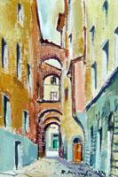 Quadro di Rodolfo Marma - Vicolo Baroncelli  (Firenze) olio tavola
