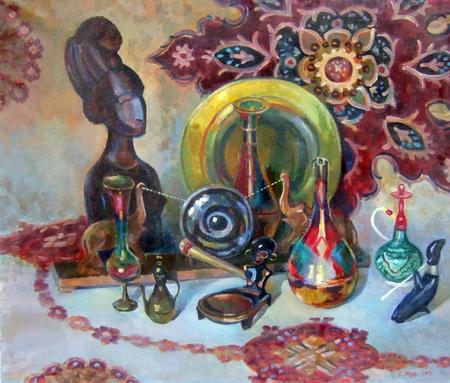 Quadro di V. Muraviov Composizione russa - acquerello carta